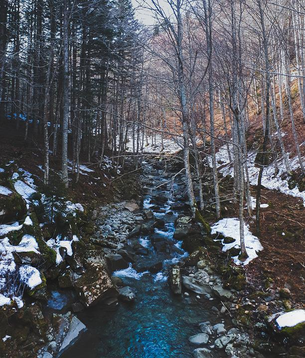 Mountain, Snow, Winter, Lastyear, Cold, Forest, River