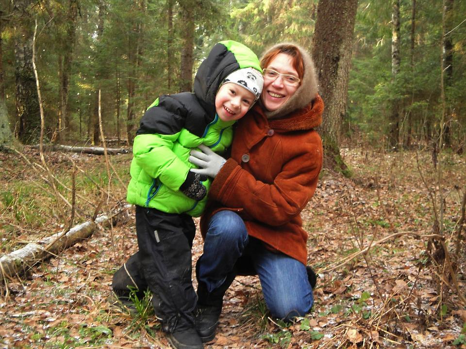 Mom, Baby, Family, Nature, Forest, Outdoors, Autumn