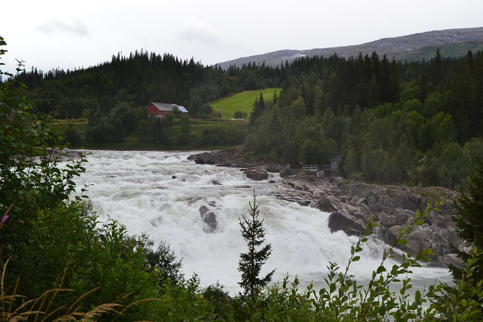 Waterfall, Norway, Vefsna, Mountains, Forest, Fields