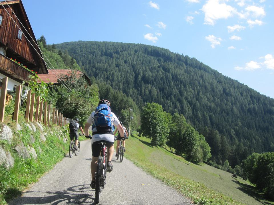 Mountains, Italy, Cyclists, Transalp, Exit, Forest