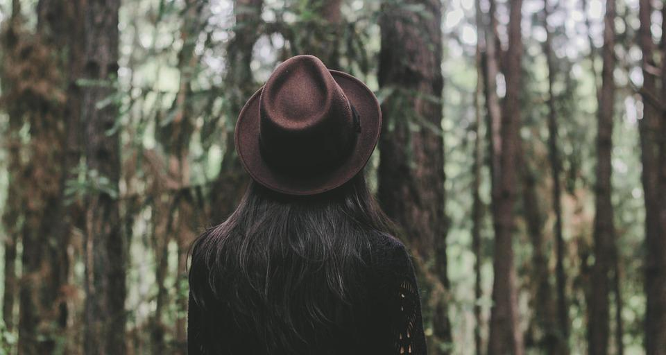 Forest, Girl, Outdoors, Trees, Woman, Woods, Back, Hat