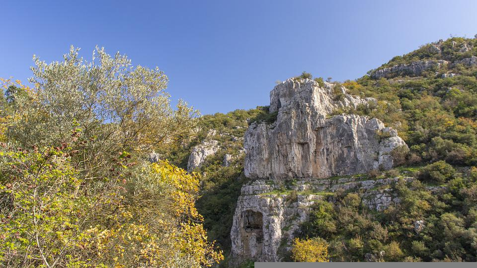Mountain, Cliff, Trees, Forest, Woods, Landscape