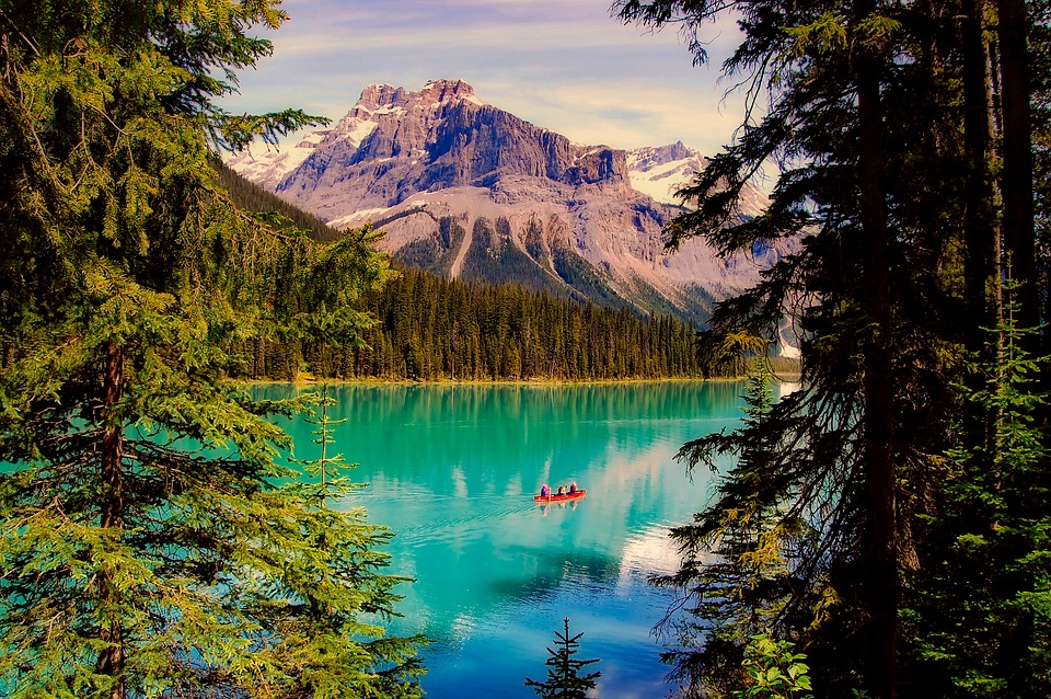 Emerald Lake, Canada, Boat, Water, Forest, Trees, Woods