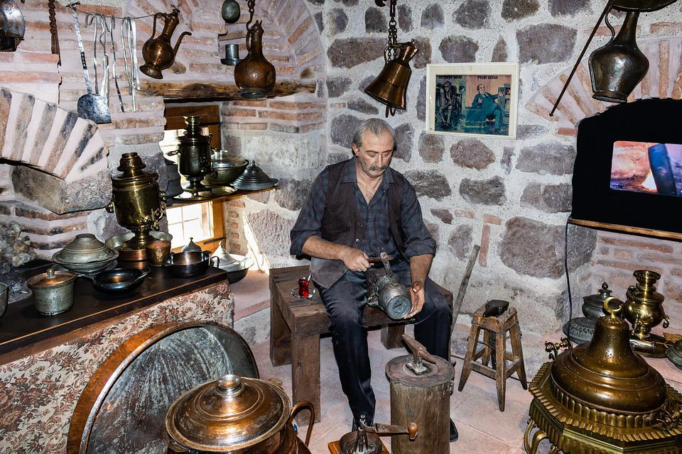 Old, Coppersmith, Blacksmith, Workers, Forge, Metal