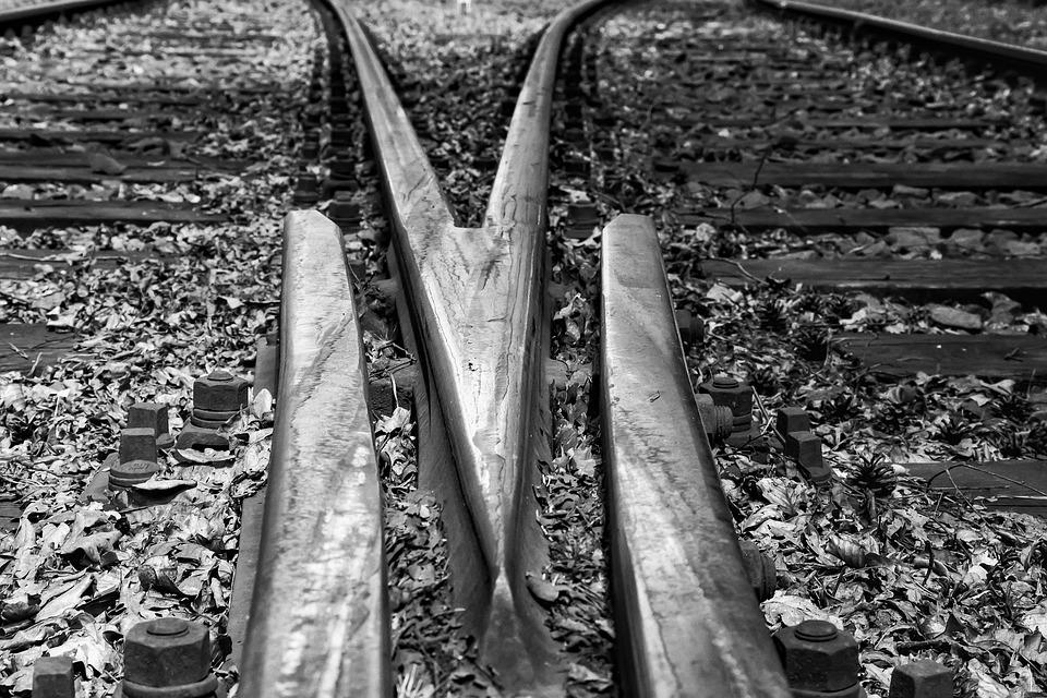 Railroad Tracks, Fork, Soft, Black And White, Threshold