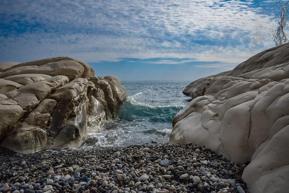 Pebble Beach, Rock, White, Formation, Nature, Sea