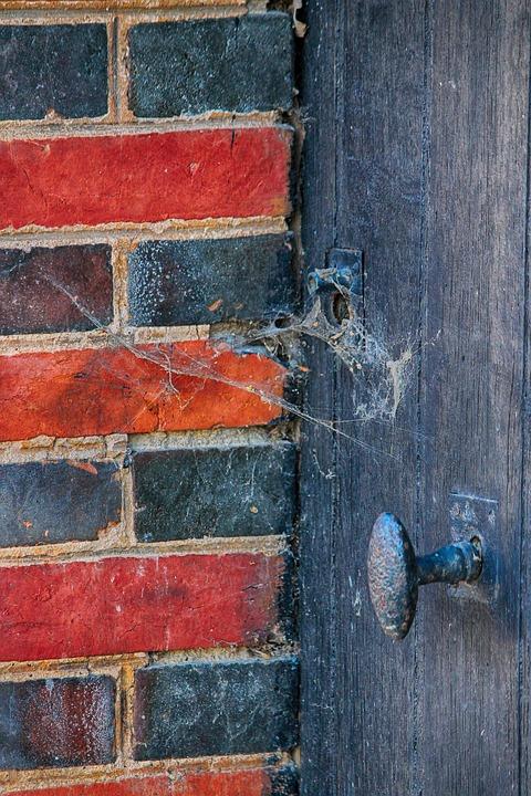 Door, Former, Brick, Web-spider, Spider, Old, Building
