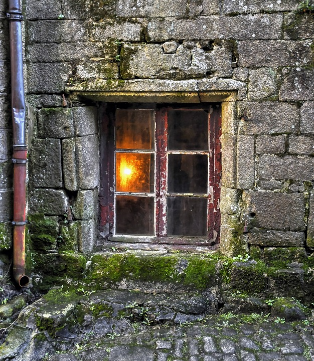 Window, Former, Light, Glass, Old, Pierre, Paved Gutter