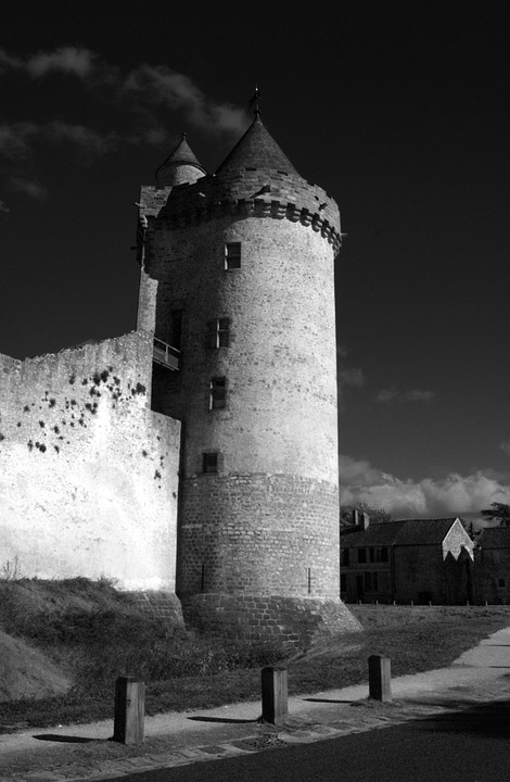 Blandy Towers, Fort, Strong Castle, Black And White