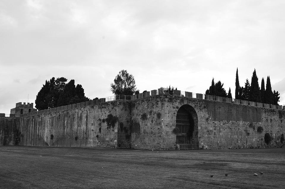 Fortress, Black And White, The Middle Ages, Twilight