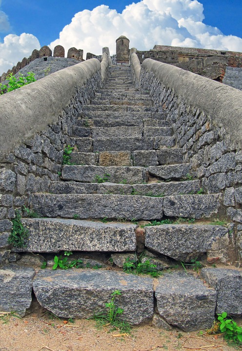 Ancient, Stairs, Staircase, Fortress, India, Indian