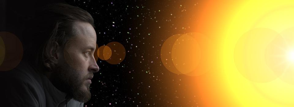 Man, View, Sun, Universe, Galaxy, Lichtreflex, Forward