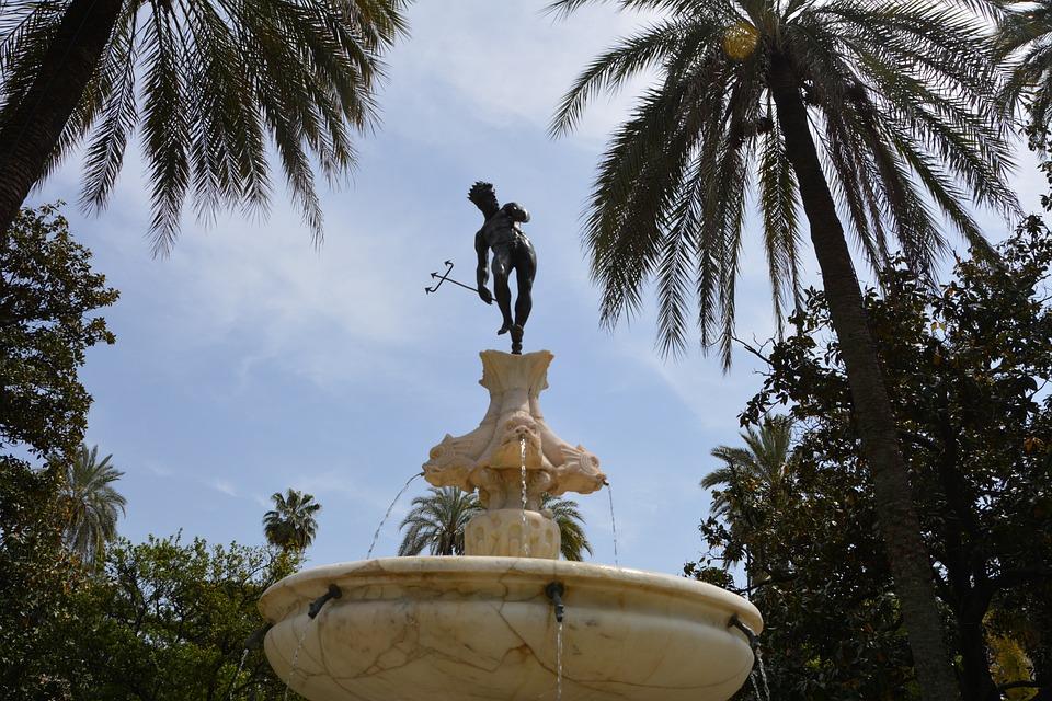 Travel, Fountain, Andalusia, Garden Alcazar