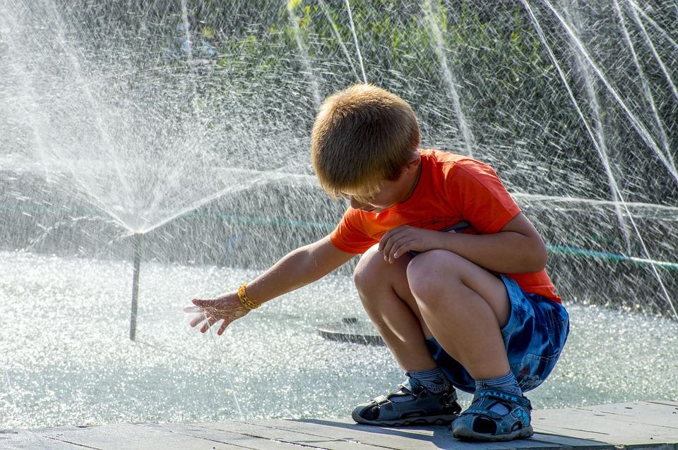 Fountain, Spray, Baby, Sun