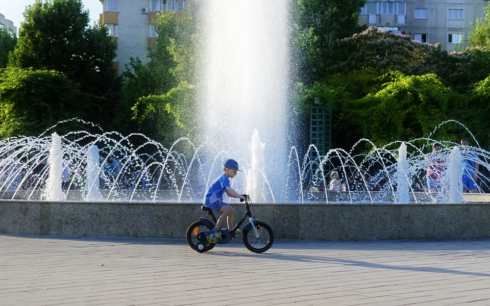 Child, Boy, Bike, Fountain, The Pool Of Water, Park