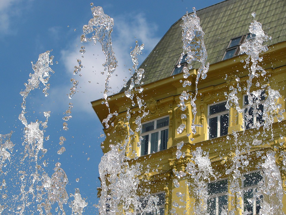Fountain, Water Drops, Building, Sunny Day, Water, Wet