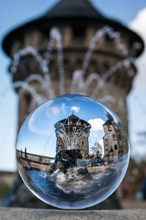 Glass Ball, Tower, Fountain, Watchtower, Castle Tower