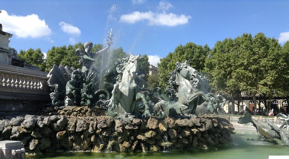 Bordeaux, Fountain, Fountain Detail, Horses