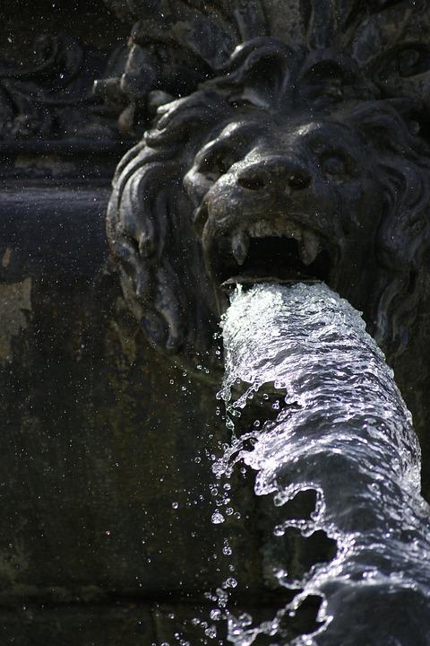 Fountain, Lion, Water, Monument, Stuttgart