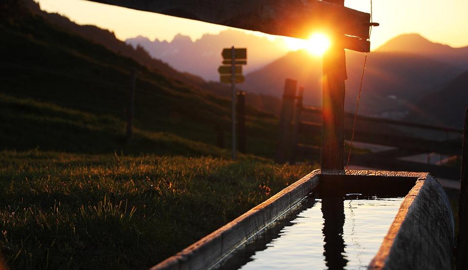 Sunset, Austria, Mountains, Alpine, Fountain, Sun