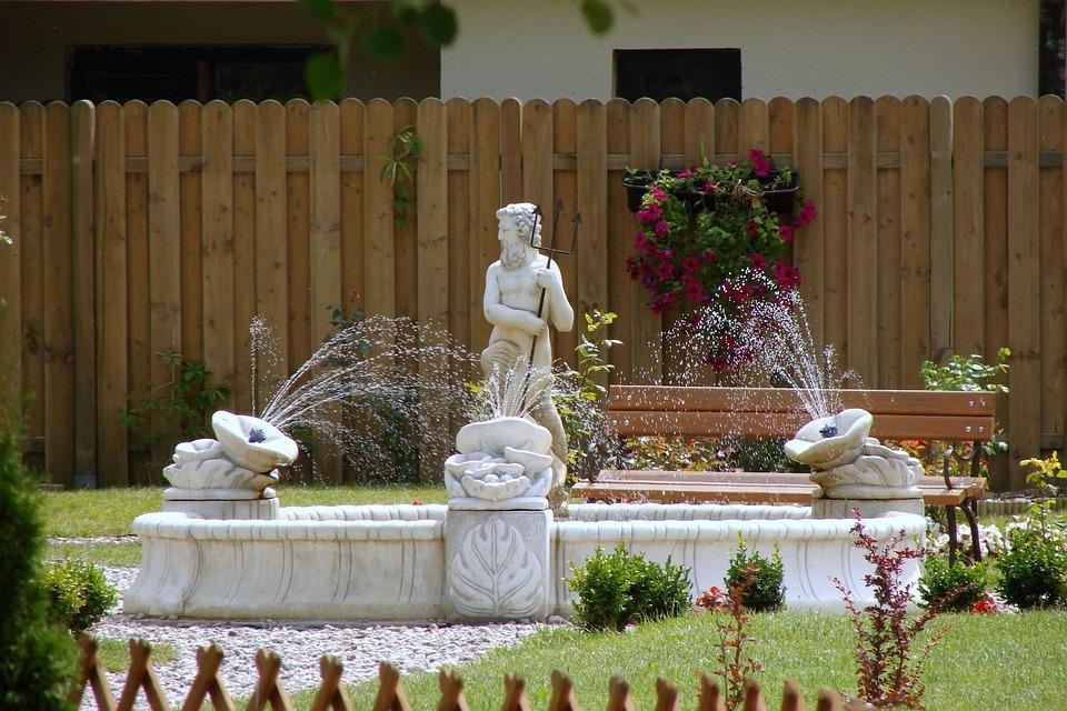 Neptune, Fountain, Garden, Sculpture, Water
