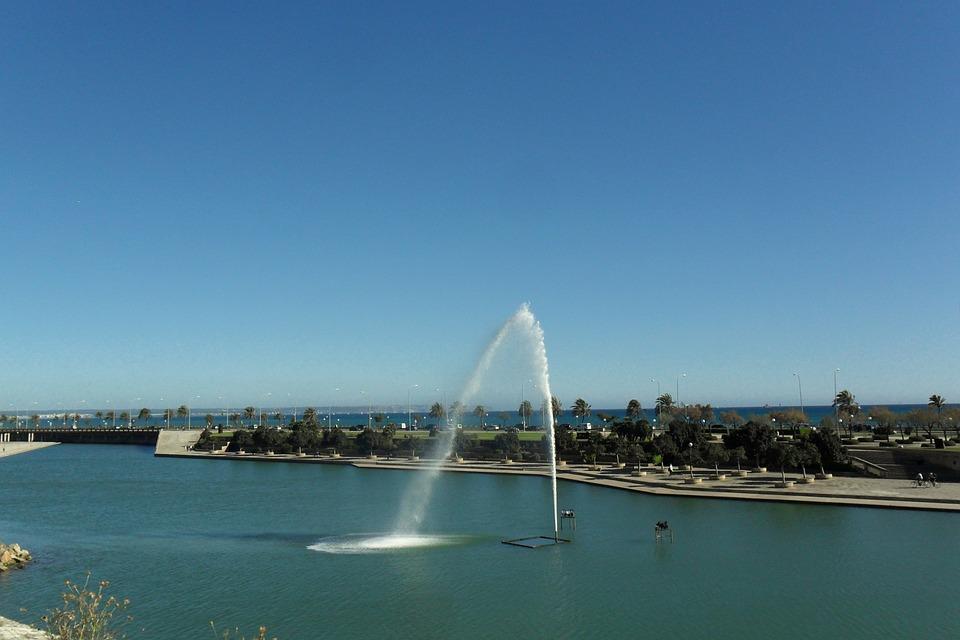 Fountain, Park, Sea, View, Palma, Majorca, Spain