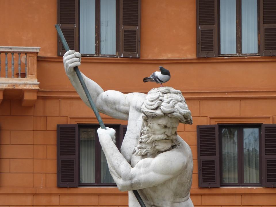 Italy, Rome, Fountain, Neptune, Sculpture