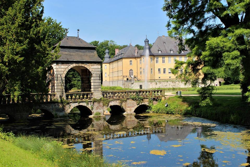 Bridge, Palace, Pond, Tree, Garden, Fountain