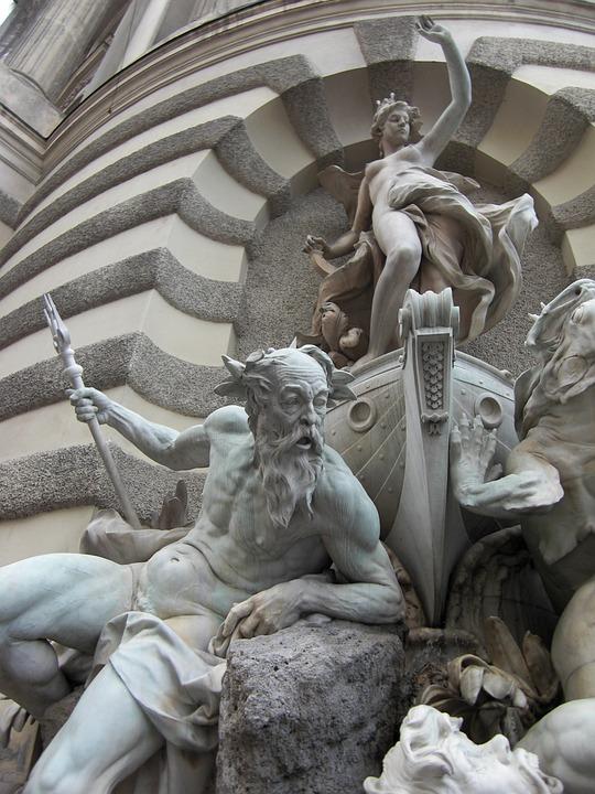 Fountain, Vienna, Austria, Neptune, Figures
