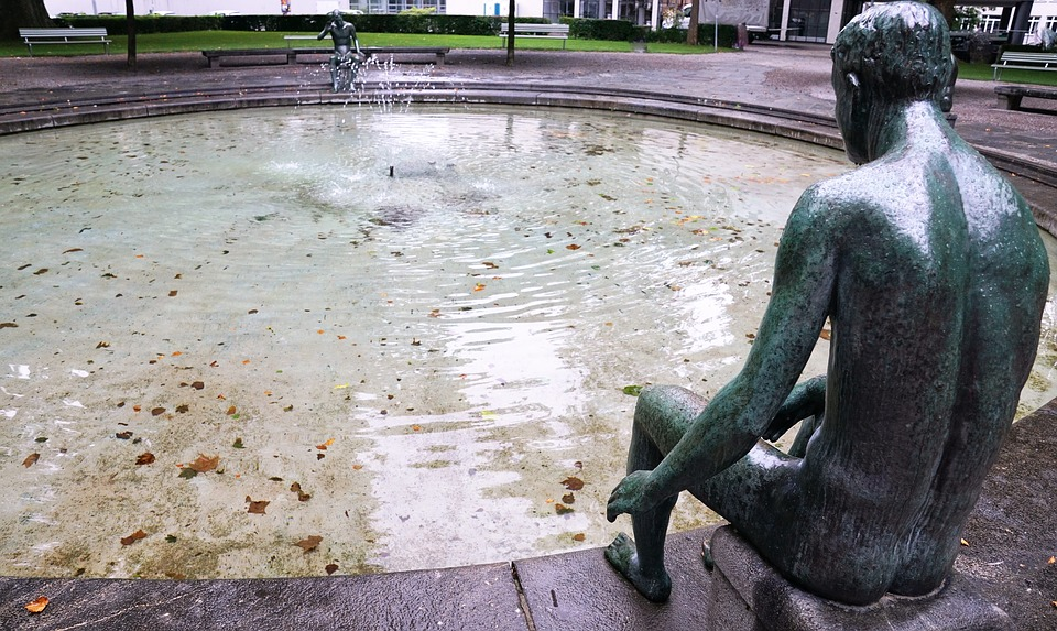 Fountain, Figure, Statue, Zurich, Water Feature, Water