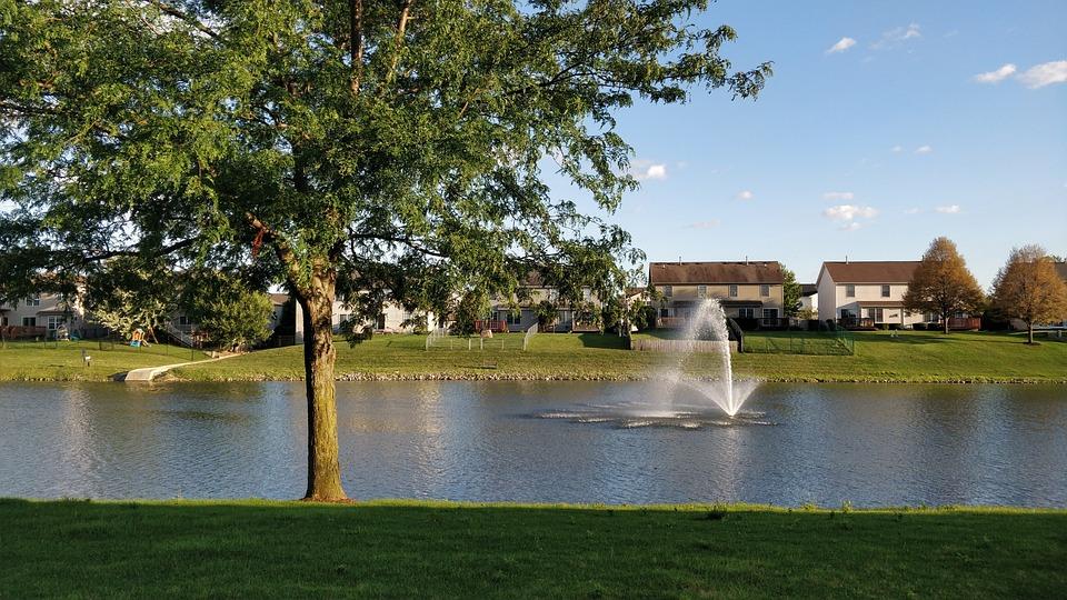 Nature, Landscape, Fountains, Tree, Scenery, Sun