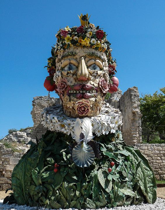 Sculpture, Giant, Arcimboldo, Fruit, Four Seasons