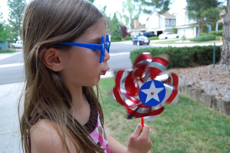 Pinwheel, Toy, Girl, Blow, Red, White, Blue, Fourth