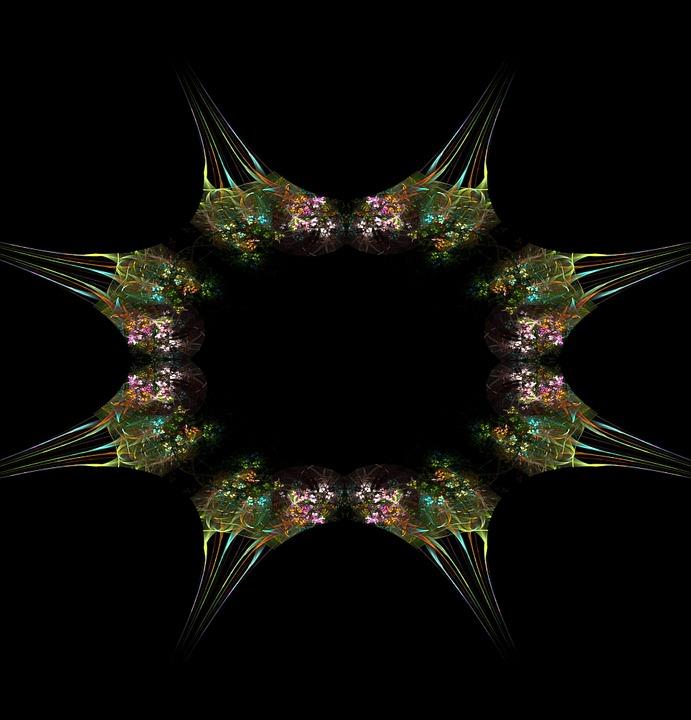 Fractal, Flower, Bouquet, Frame, Green, Picture Frame