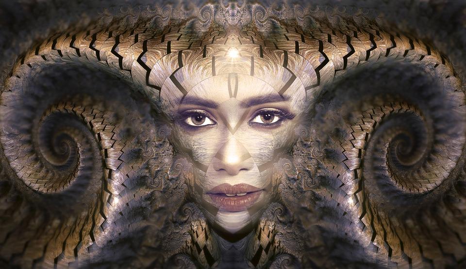 Portrait, Fantasy, Fractal, Horns, Woman, Female