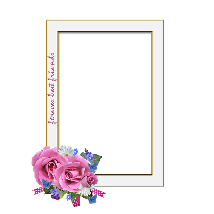 Frame, Roses, Best Friends, Isolated, Cut Out