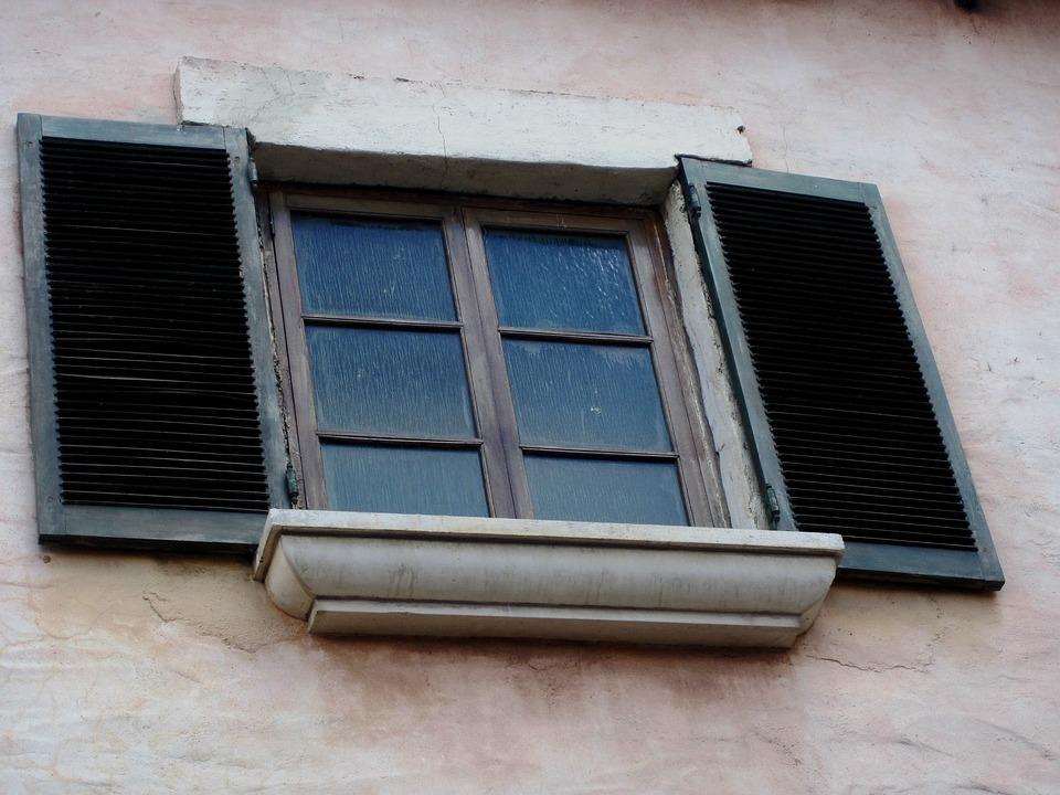 Window, Frame, Shutters, Glass, Panes, Wall
