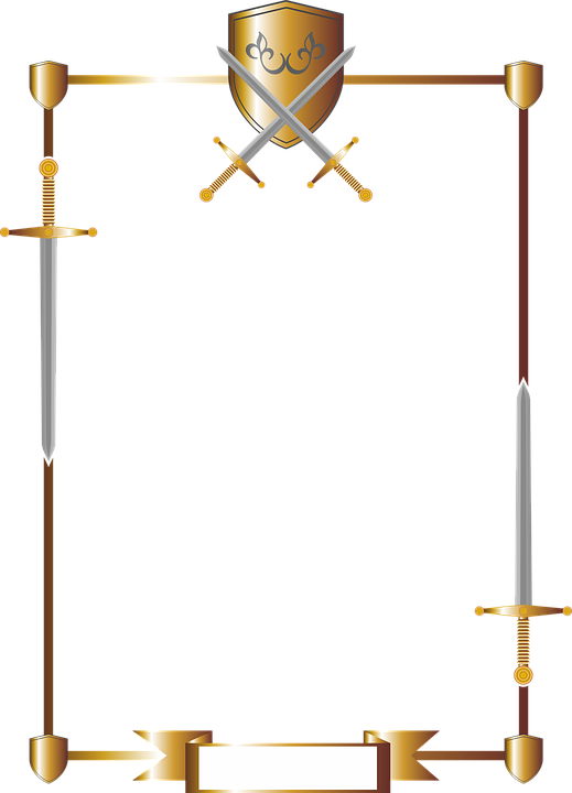 Frame, Stationery, Shield, Coat Of Arms, Swords, Knight