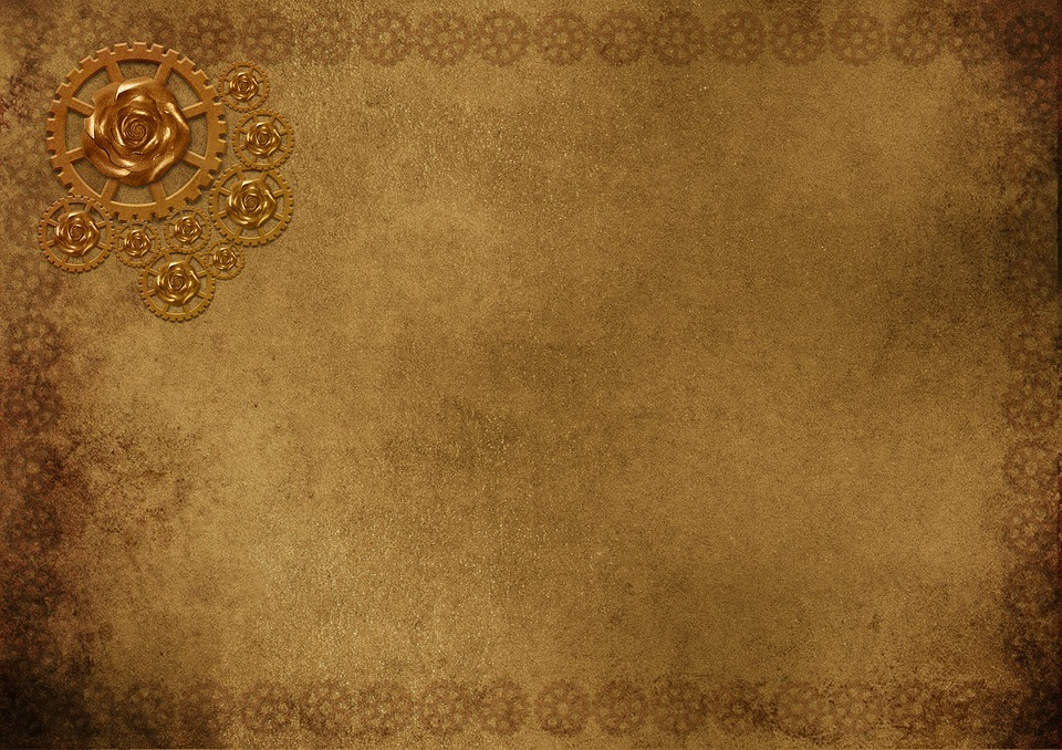 Background Image, Frame, Steampunk, Gears, Bronze