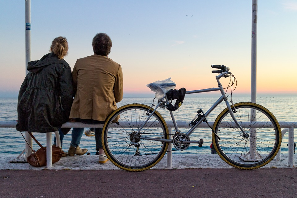 France, Nice, Provence, Bicycle, Lovers, Sunset, Sea