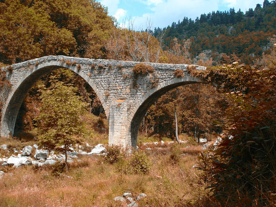 France, Landscape, Bridge, Forest, Trees, Woods, Fall