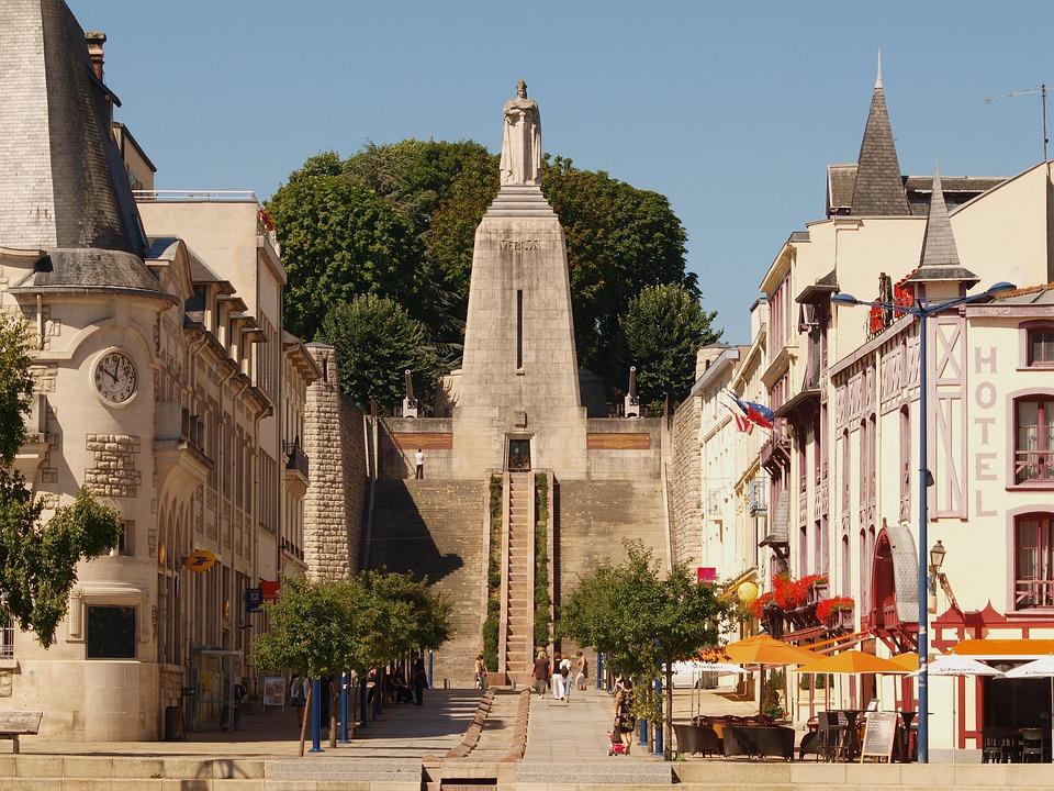 Verdun, France, Monument, Buildings, Trees, Sky, Clouds