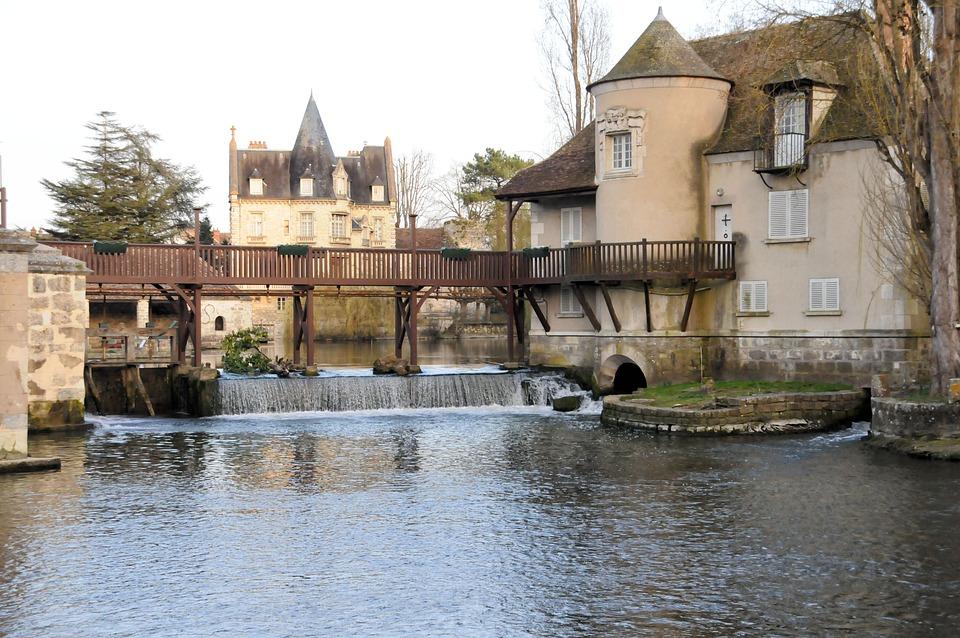 Mill, Cascade, Moret-sur-loing, France, Landscape