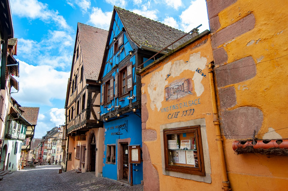 France, Village, City, Alsace, French, Old, Blue