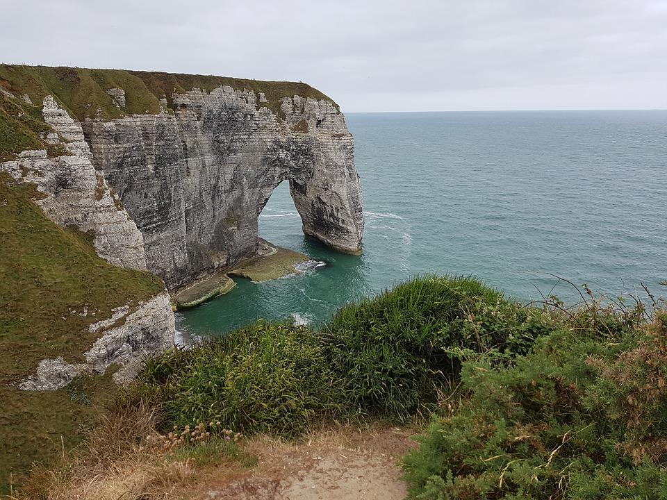 Cliff, Sea View, Felsentor, Etretat, Normandy, France