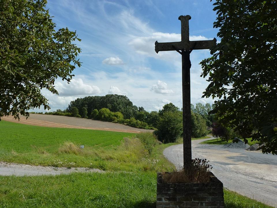 Barby, Ardennes, Wayside Cross, Way, Field, France