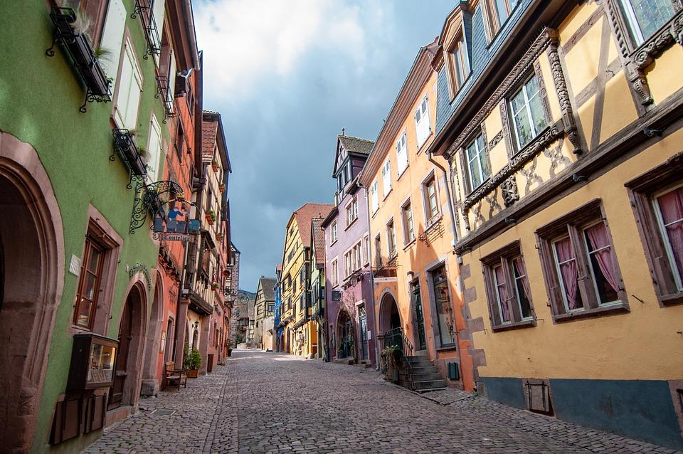 Village, Townhouses, France, Kaysersberg, Alsace, Rural