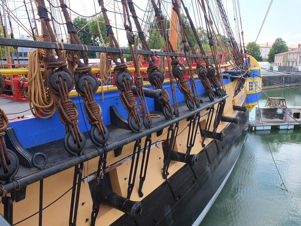 La Fayette, Frigate Hermione, France, Boat, Port, Sea