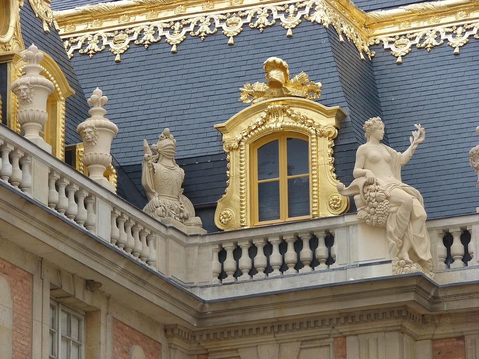 Versailles, France, Palace, Landmark, Gold, Roof