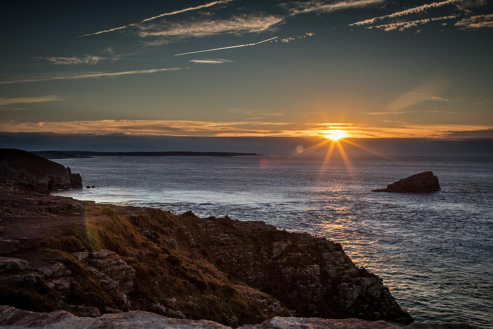 Sea, Sun, Lying, Edge, France, Brittany